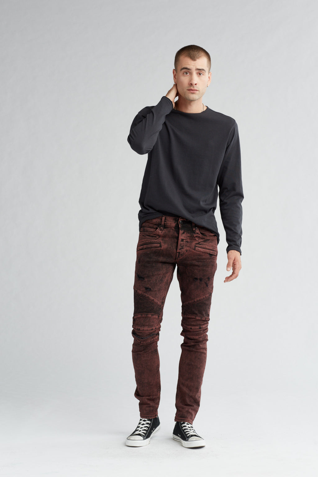 BLINDER BIKER SKINNY MOTO JEAN - FADED OX BLOOD - Image 1