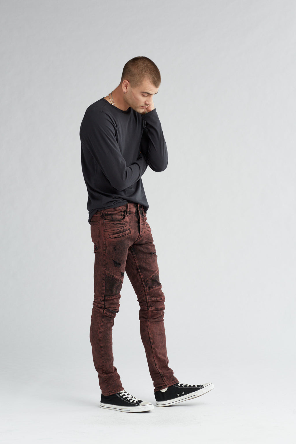 BLINDER BIKER SKINNY MOTO JEAN - FADED OX BLOOD - Image 2