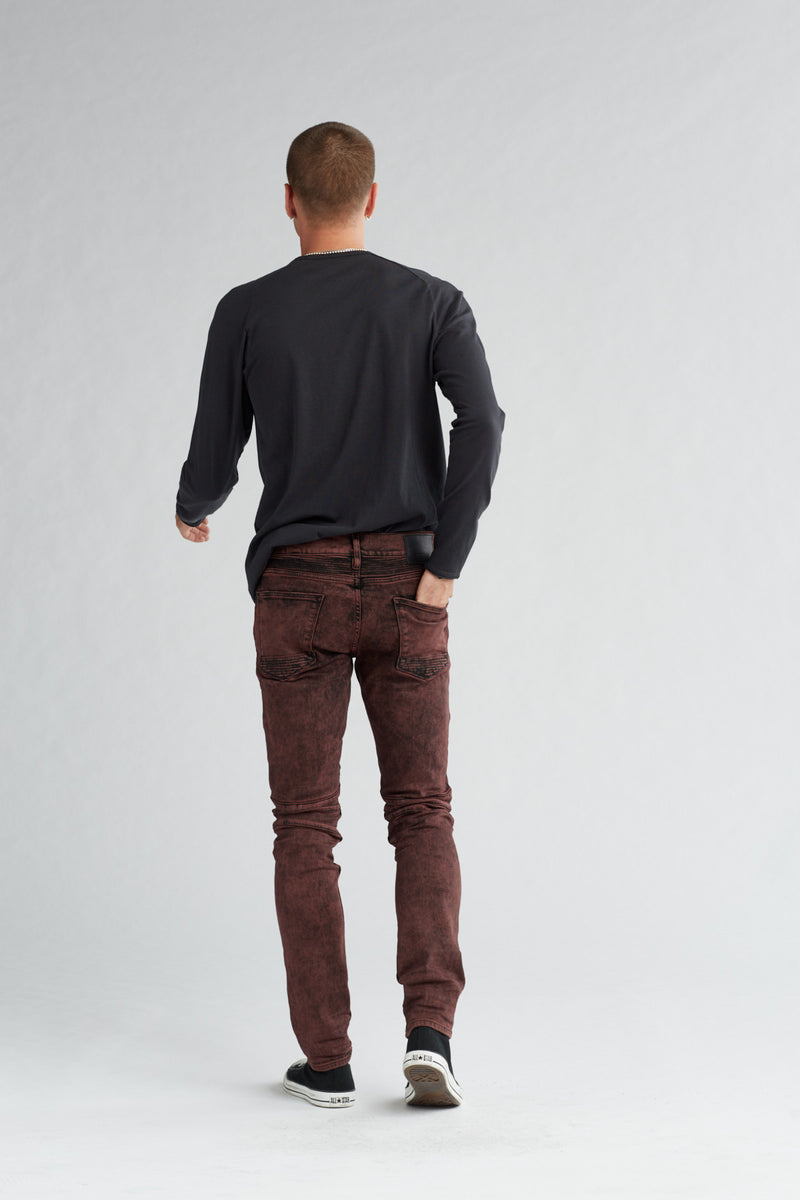 BLINDER BIKER SKINNY MOTO JEAN - FADED OX BLOOD - Image 3