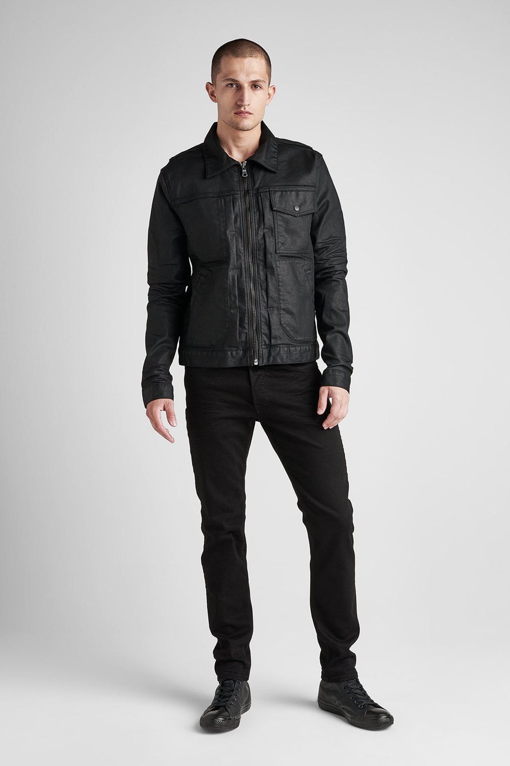 ZIP FRONT DENIM JACKET - ONYX - Image 1
