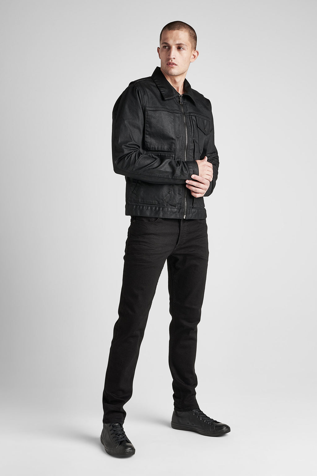 ZIP FRONT DENIM JACKET - ONYX - Image 2