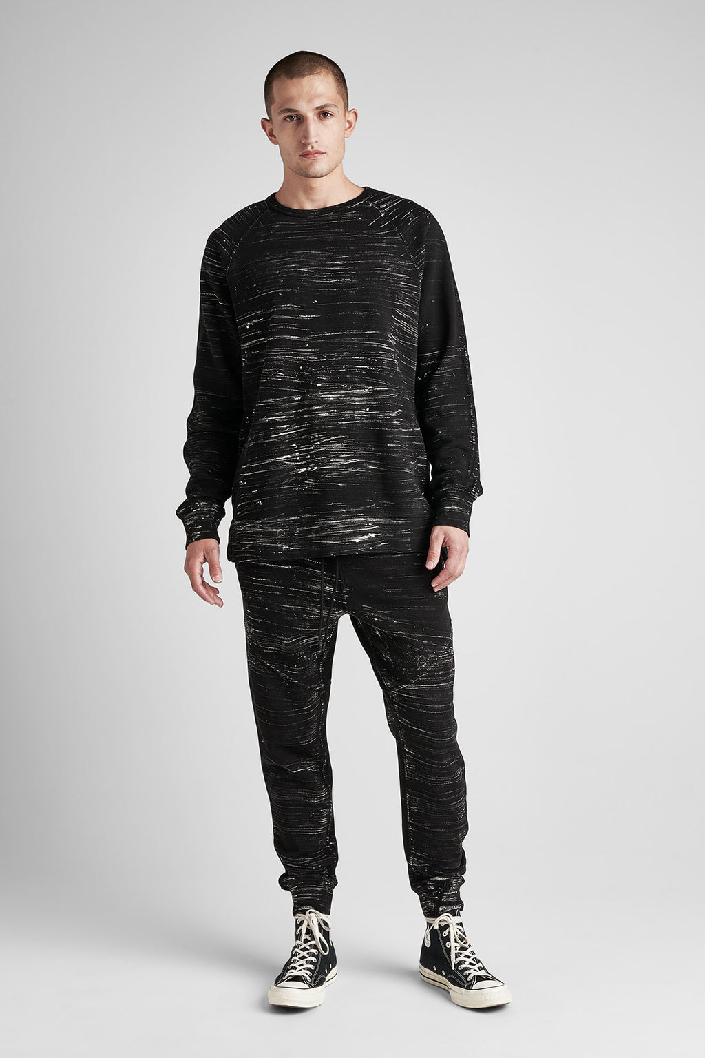 PULLOVER CREWNECK SWEATER - BLACK MARBLE - Image 1