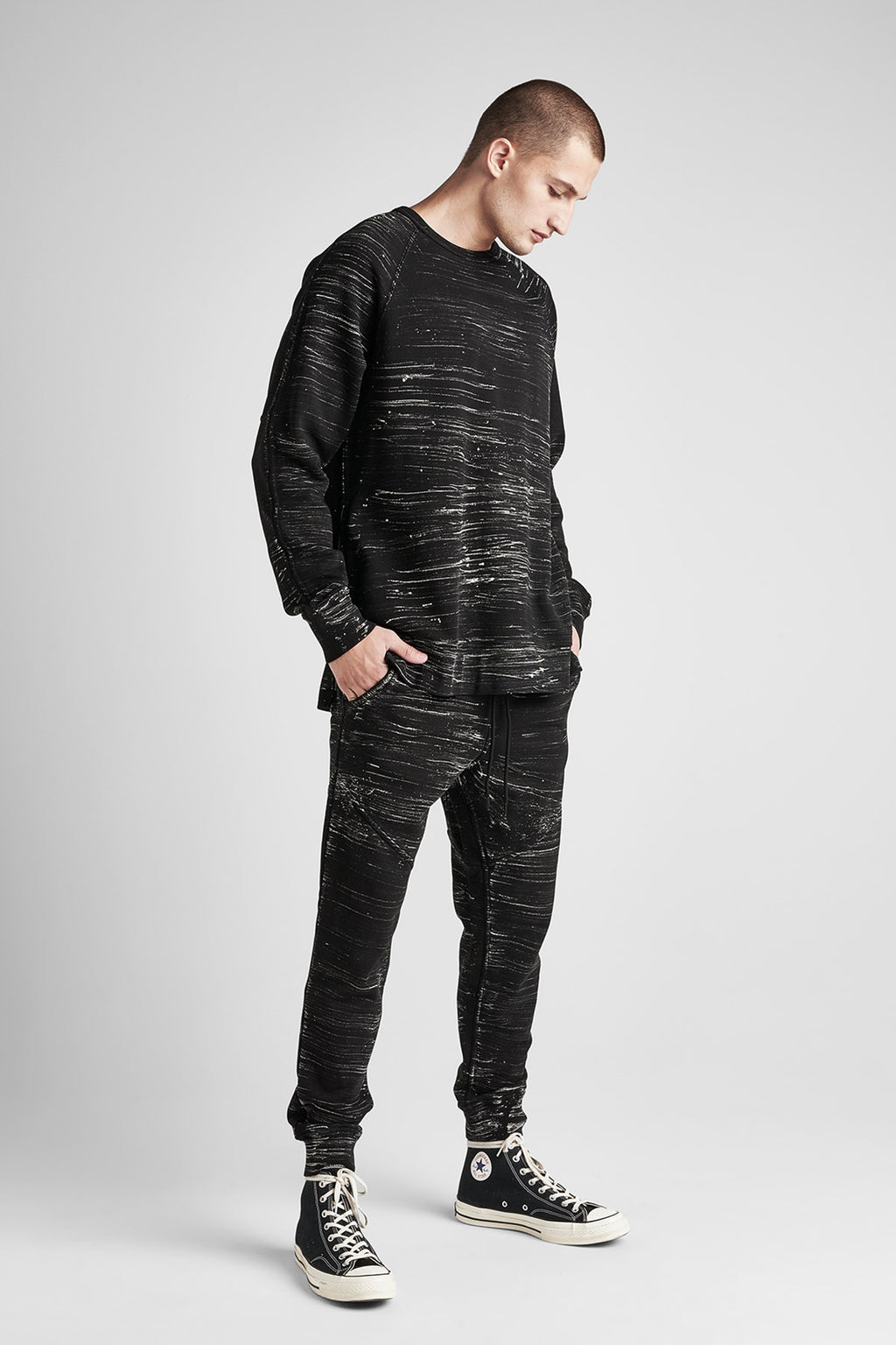 PULLOVER CREWNECK SWEATER - BLACK MARBLE - Image 2