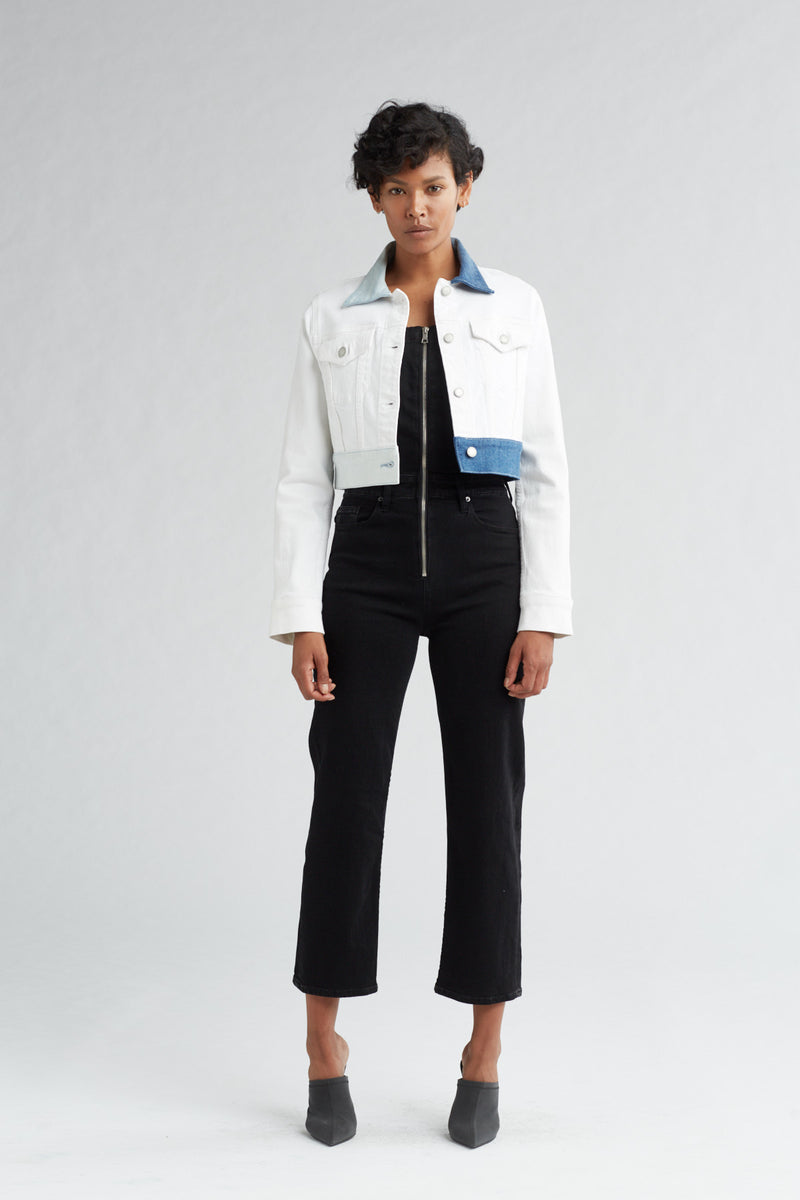 CROPPED TRUCKER DENIM JACKET - WHITE ICE - Image 1