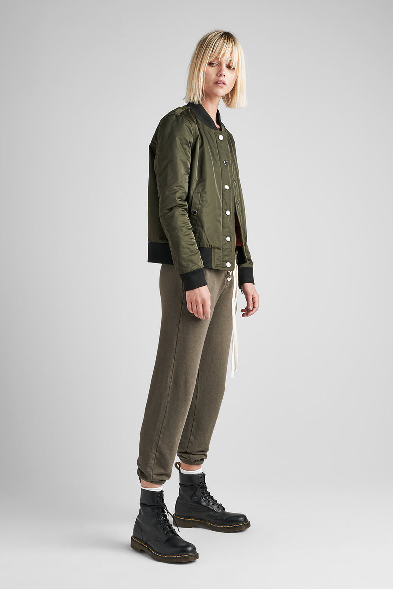 NYLON ZIP BOMBER JACKET - GREEN ARMY - Image 2