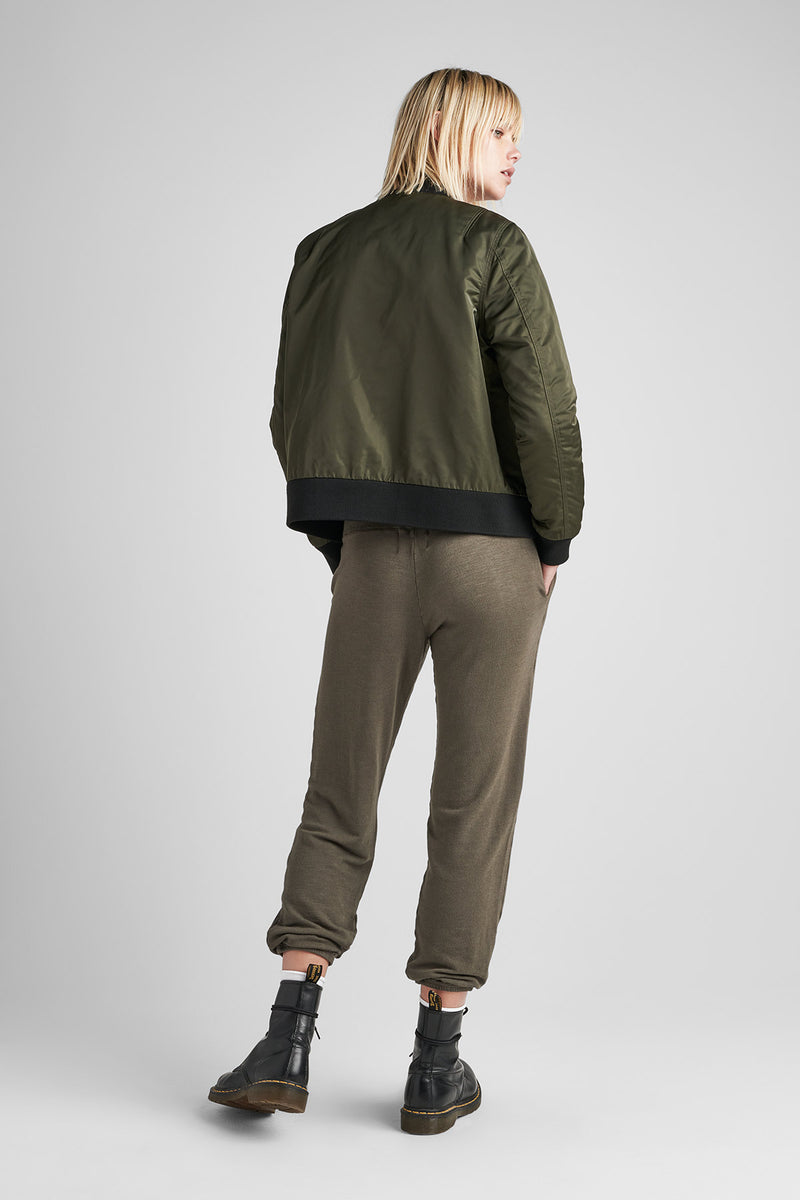 NYLON ZIP BOMBER JACKET - GREEN ARMY - Image 3