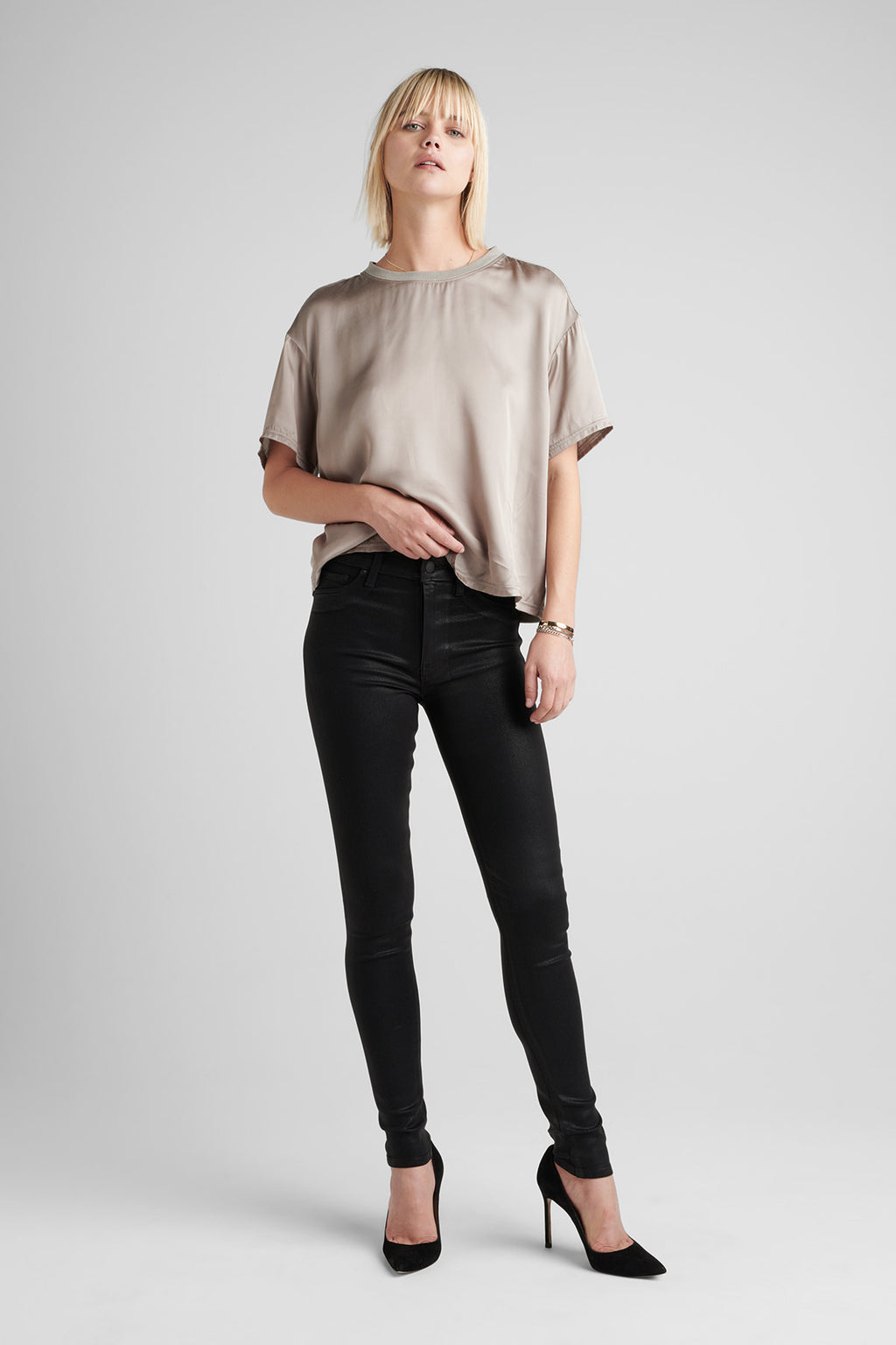BARBARA HIGH RISE SUPER SKINNY COATED JEAN - NOIR CO 2 - Image 1