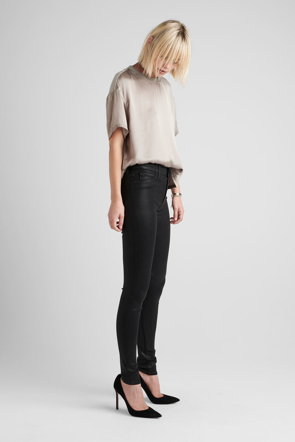 BARBARA HIGH RISE SUPER SKINNY COATED JEAN - NOIR CO 2 - Image 2