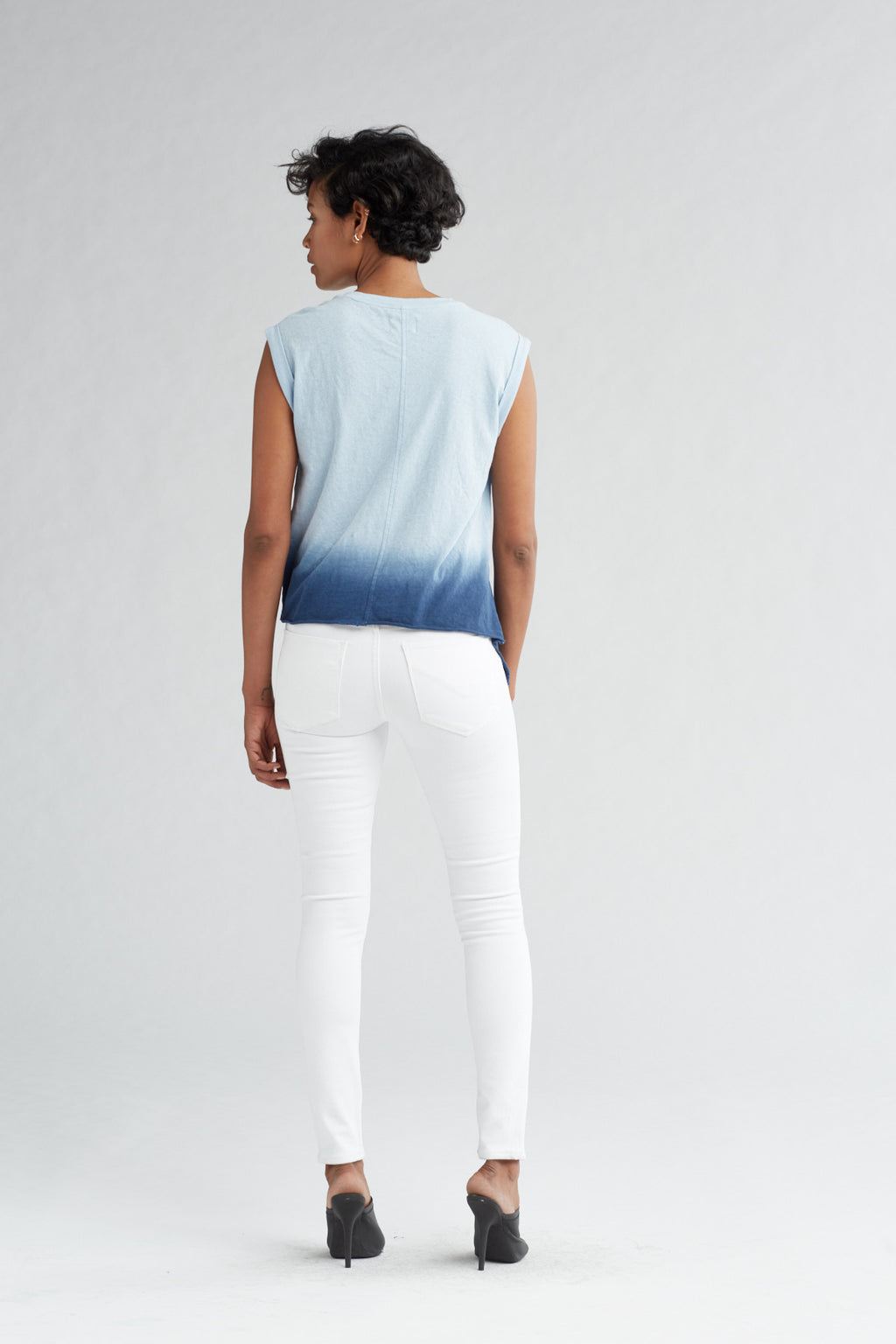 ROLLED SLEEVE TANK - NAVY OMBRE - Image 4