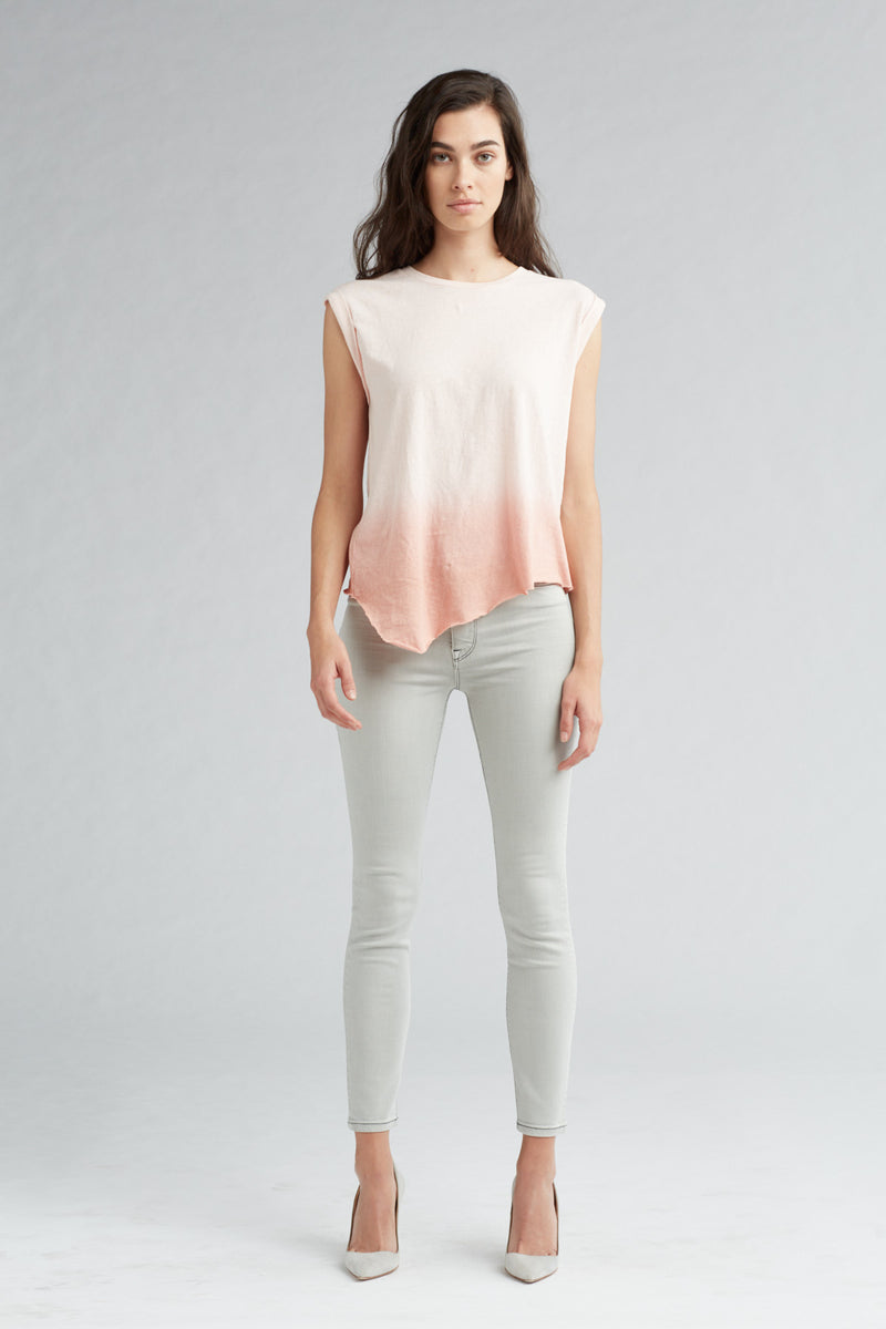 ROLLED SLEEVE TANK - PINK OMBRE - Image 1