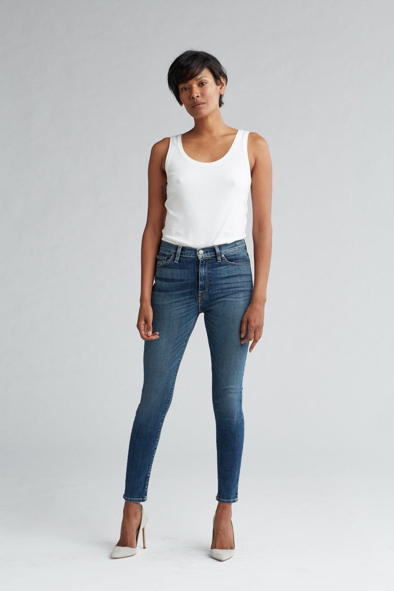 BARBARA HIGH RISE SUPER SKINNY ANKLE JEAN - CLEAN SIDE BAR - Image 1