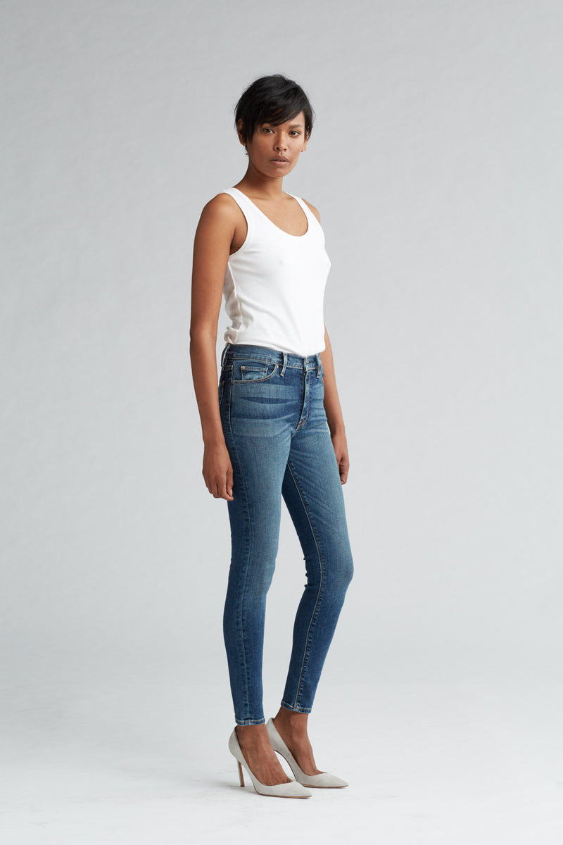 BARBARA HIGH RISE SUPER SKINNY ANKLE JEAN - CLEAN SIDE BAR - Image 2