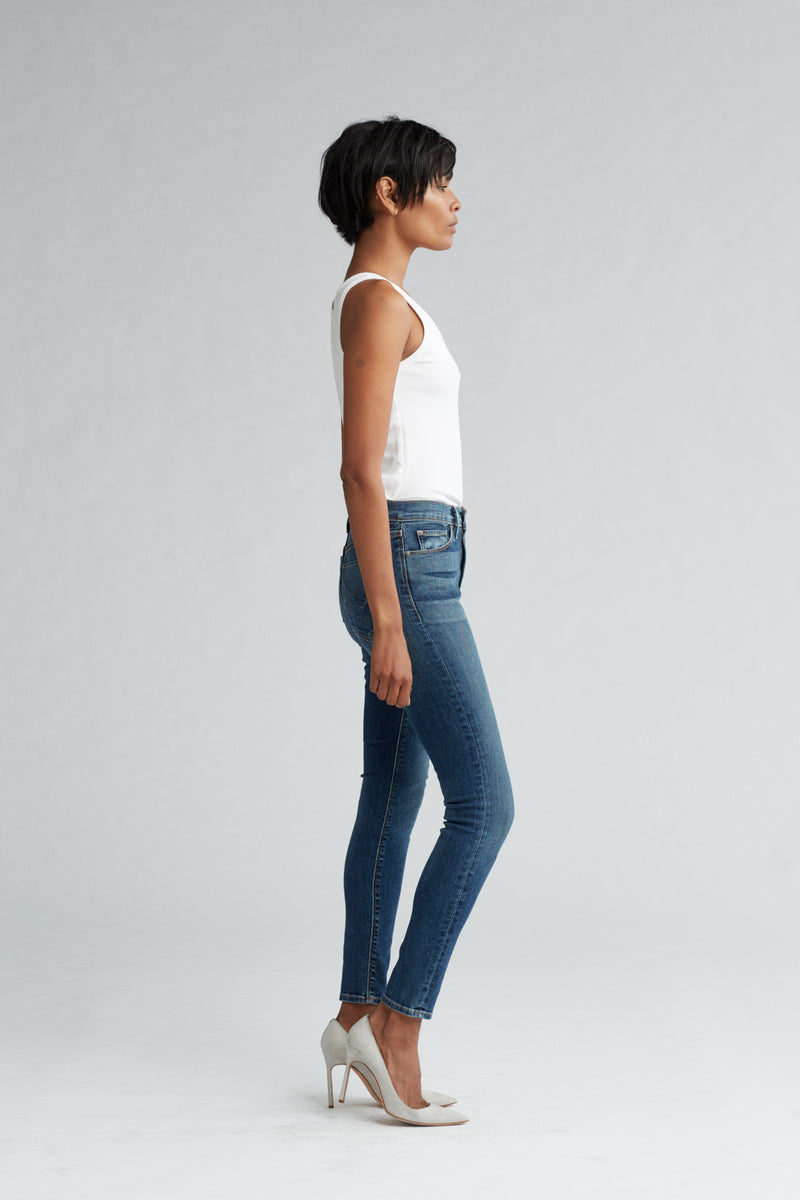BARBARA HIGH RISE SUPER SKINNY ANKLE JEAN - CLEAN SIDE BAR - Image 3