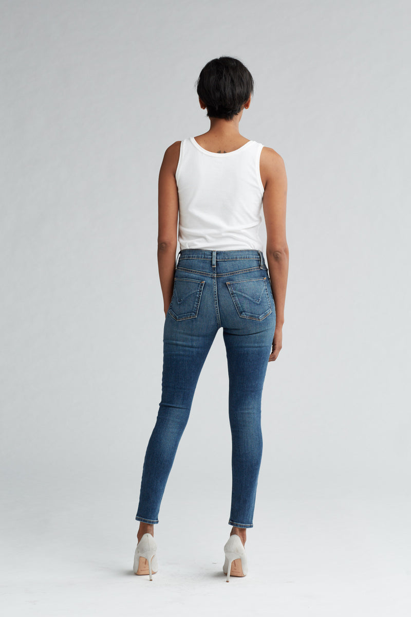 BARBARA HIGH RISE SUPER SKINNY ANKLE JEAN - CLEAN SIDE BAR - Image 4