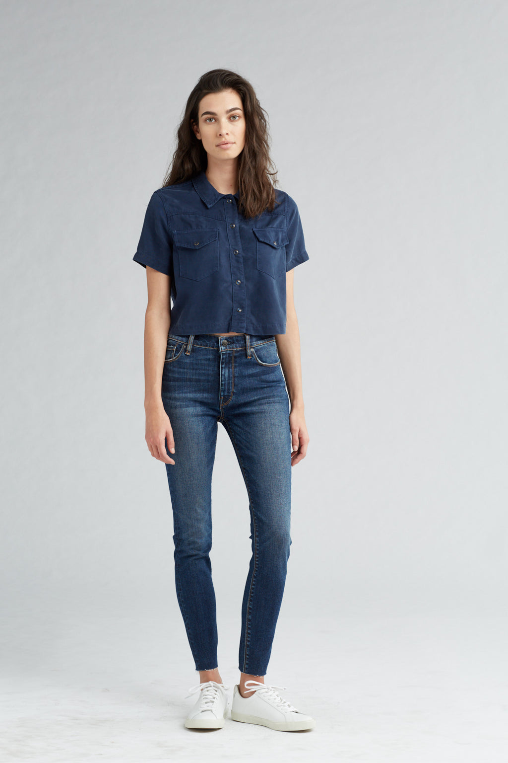 BARBARA HIGH RISE SUPER SKINNY ANKLE JEAN - VAGABOND RAW HEM - Image 1