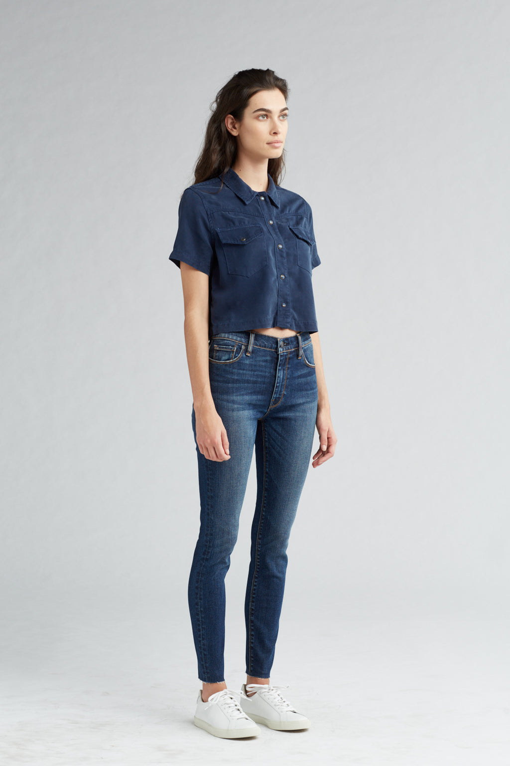 BARBARA HIGH RISE SUPER SKINNY ANKLE JEAN - VAGABOND RAW HEM - Image 2