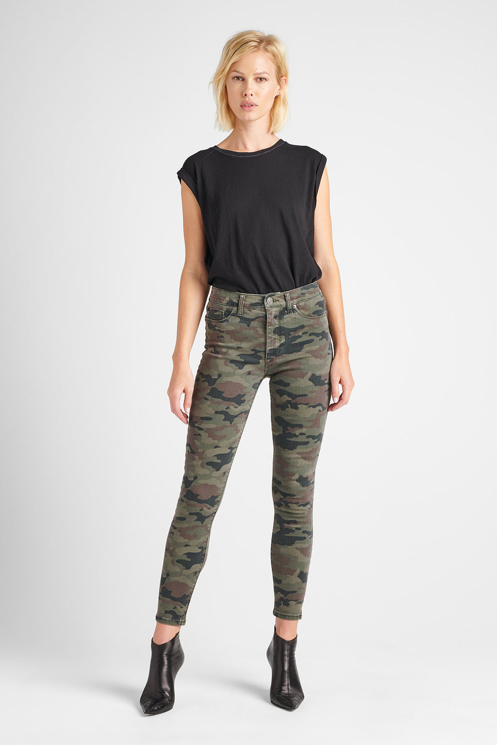 BARBARA HIGH RISE SUPER SKINNY ANKLE JEAN - DEPLOYED CAMO - Image 1