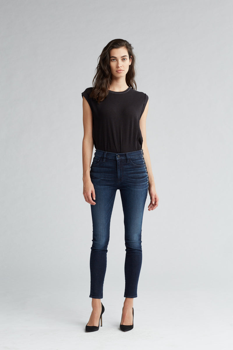 BARBARA HIGH RISE SUPER SKINNY ANKLE JEAN - MOON LIGHT - Image 1