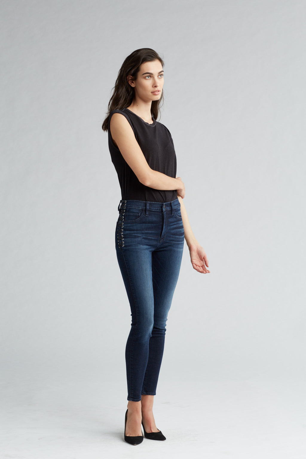 BARBARA HIGH RISE SUPER SKINNY ANKLE JEAN - MOON LIGHT - Image 2