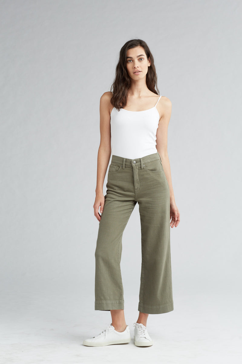 HOLLY HIGH RISE WIDE LEG CROP JEAN - DESERT SAGE - Image 1