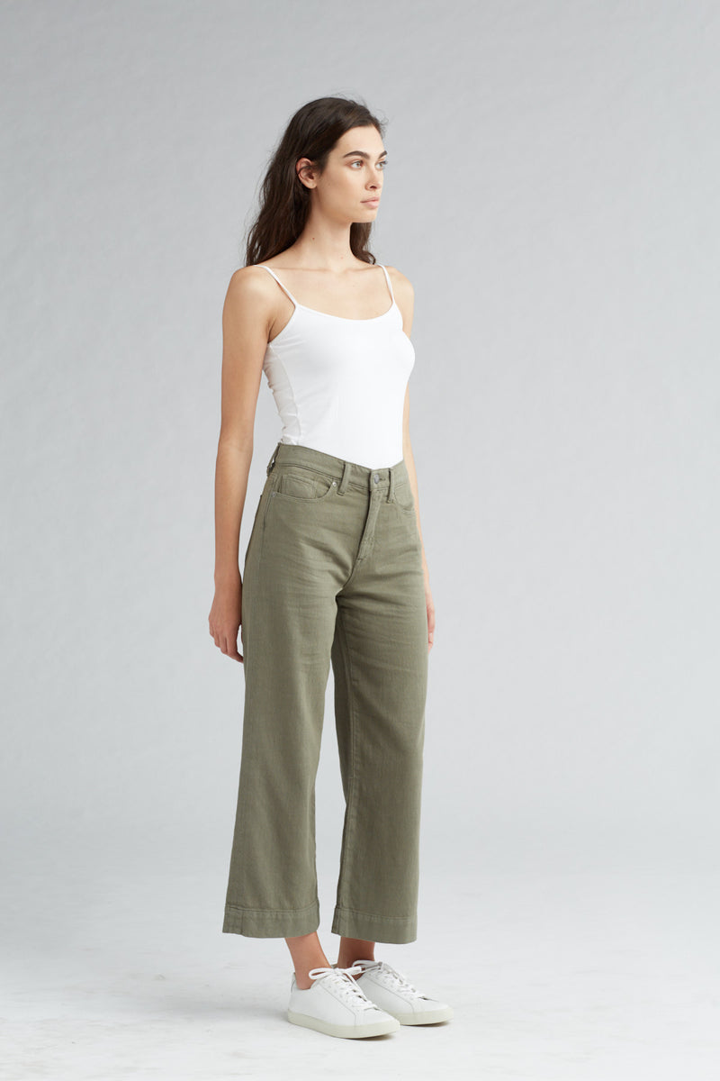 HOLLY HIGH RISE WIDE LEG CROP JEAN - DESERT SAGE - Image 2