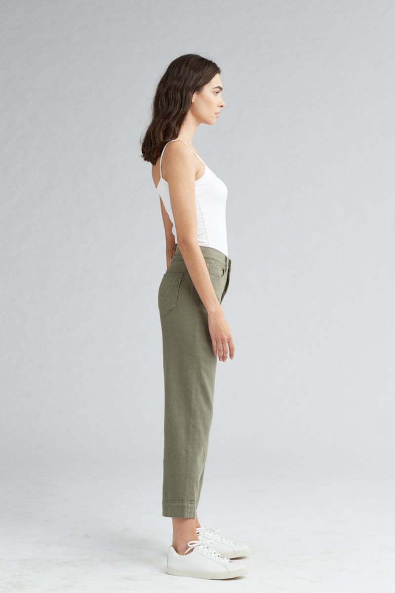 HOLLY HIGH RISE WIDE LEG CROP JEAN - DESERT SAGE - Image 3