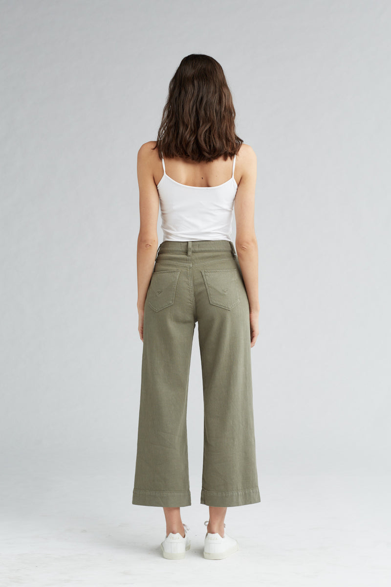 HOLLY HIGH RISE WIDE LEG CROP JEAN - DESERT SAGE - Image 4