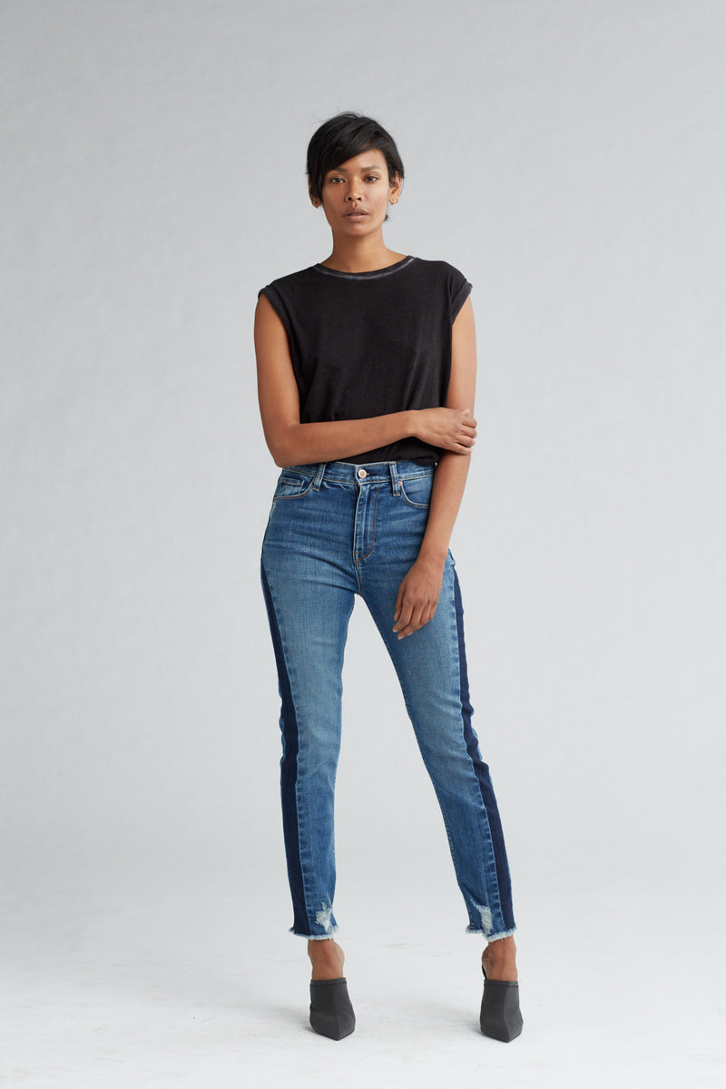 HOLLY HIGH RISE SKINNY CROP JEAN - SHADE OFF - Image 1
