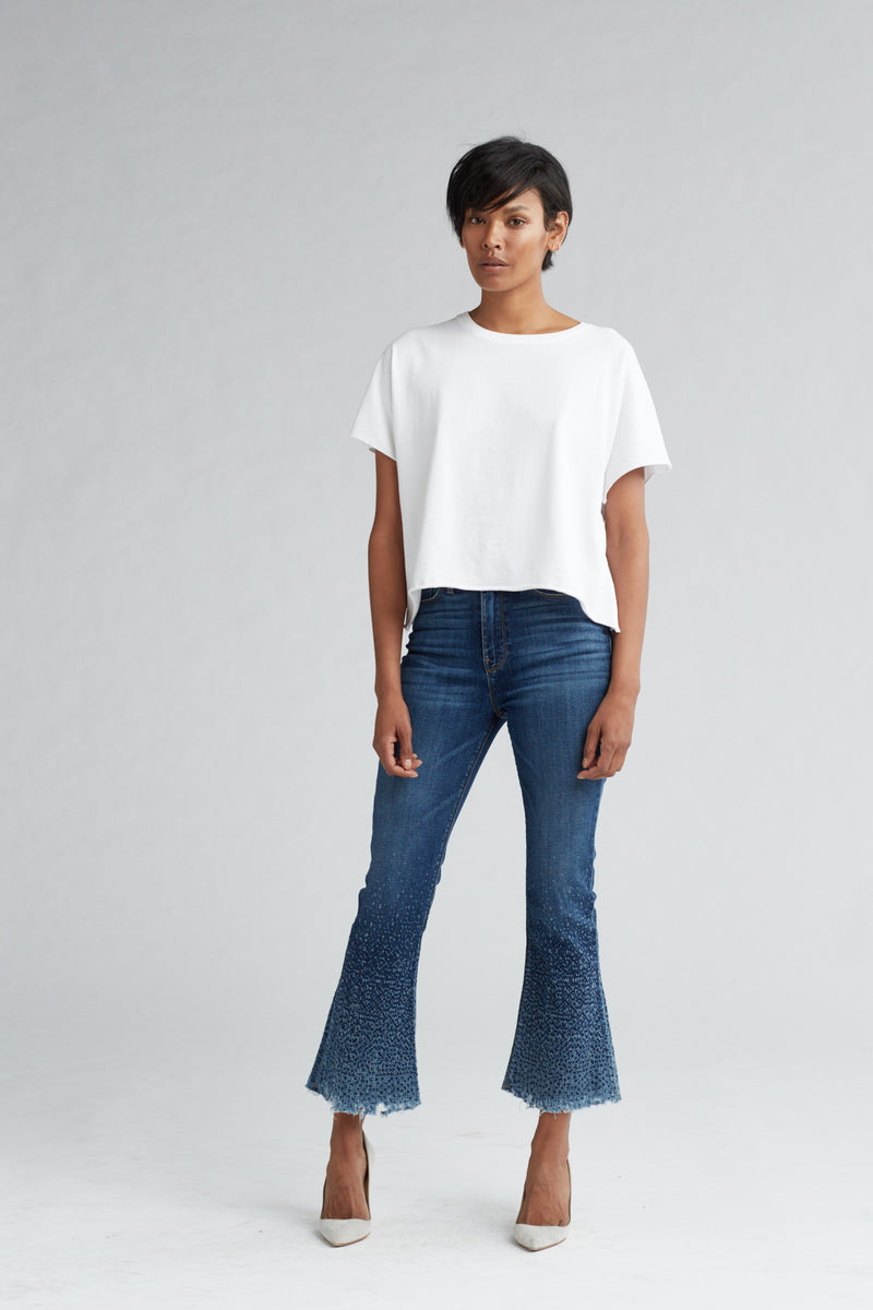 HOLLY HIGH RISE CROP FLARE JEAN - DIST. SUNDOWN (DISTRESSED) - Image 1