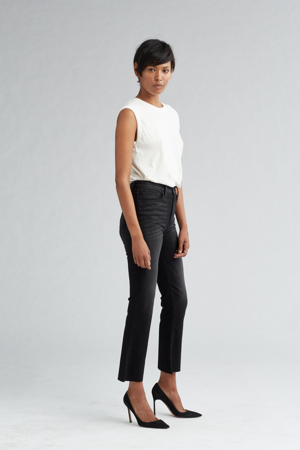 HOLLY HIGH RISE CROP FLARE JEAN - BLACK HOUND - Image 2