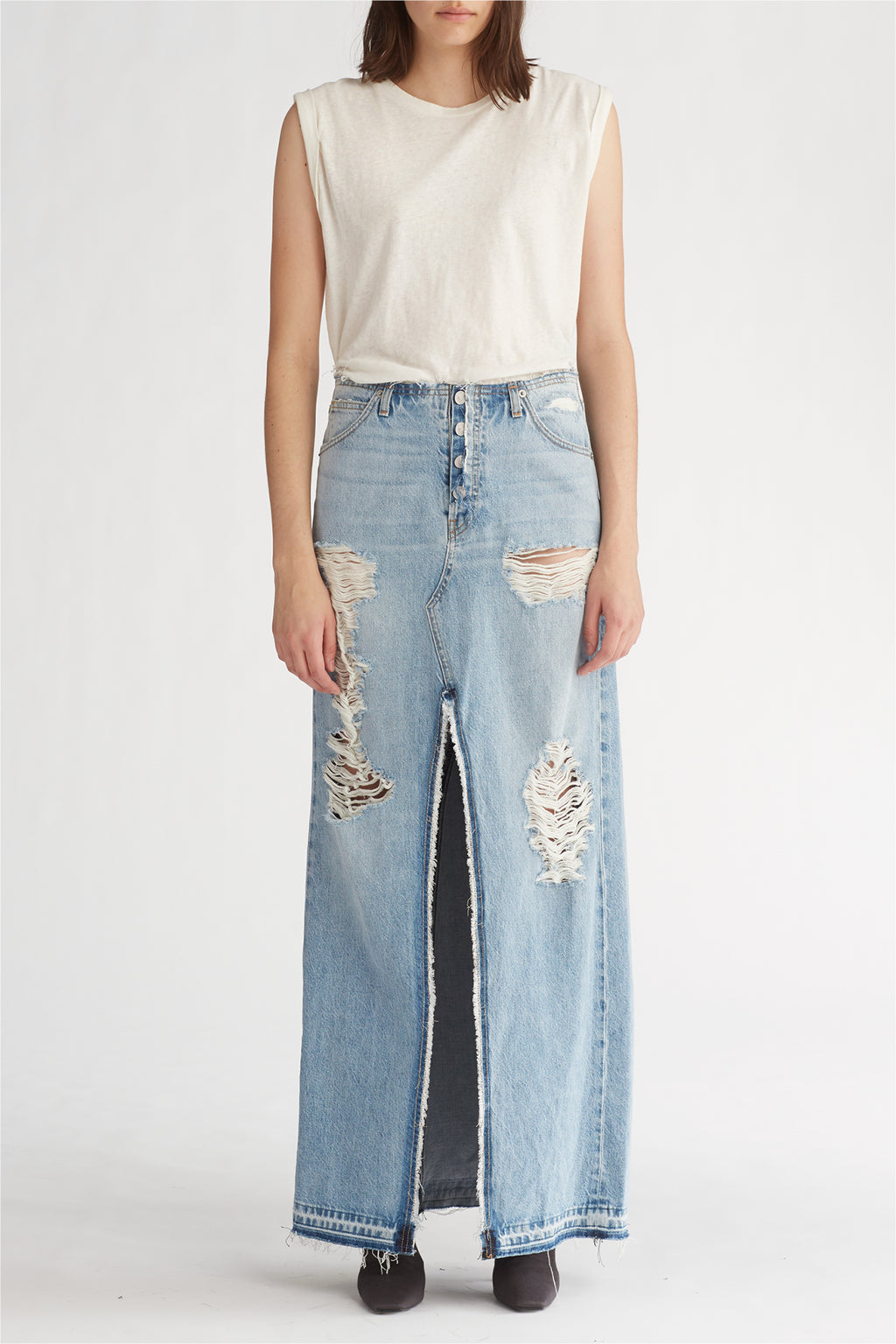 SLOANE LONG DENIM SKIRT - OVERTHROW - Image 1