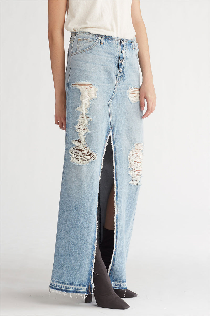 SLOANE LONG DENIM SKIRT - OVERTHROW - Image 2