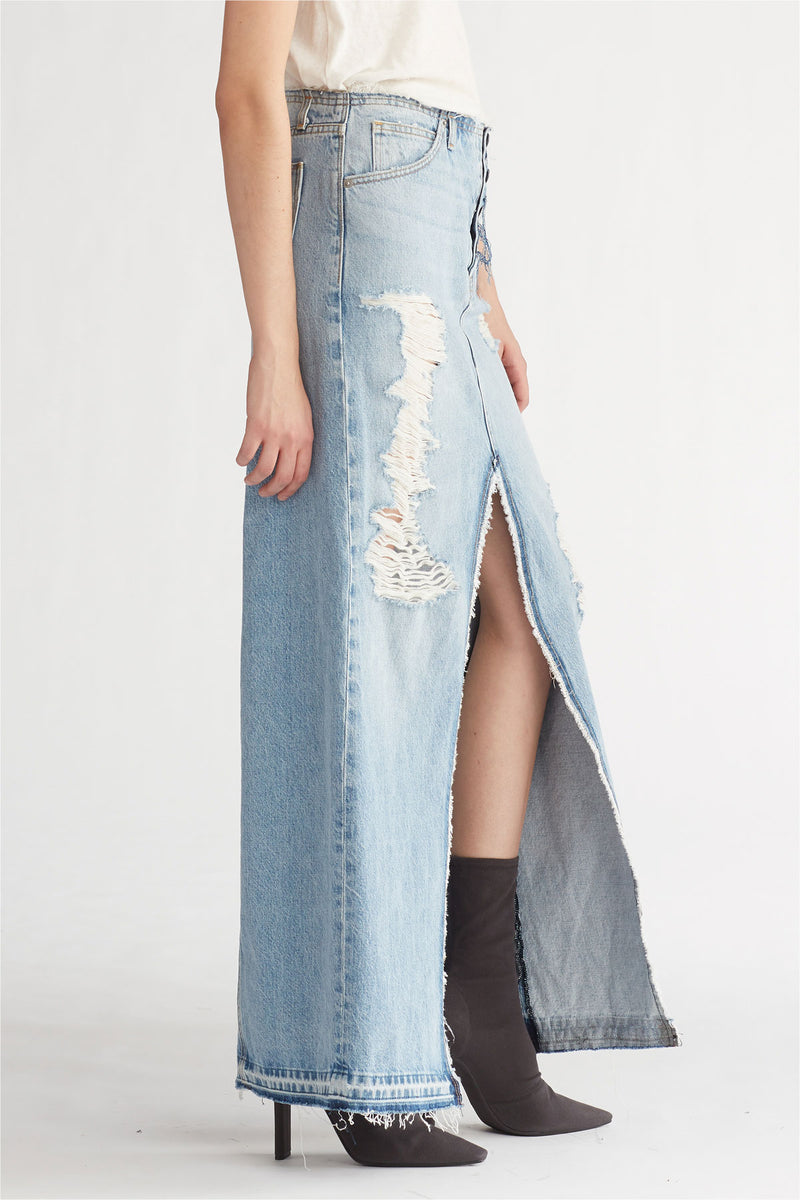 SLOANE LONG DENIM SKIRT - OVERTHROW - Image 3