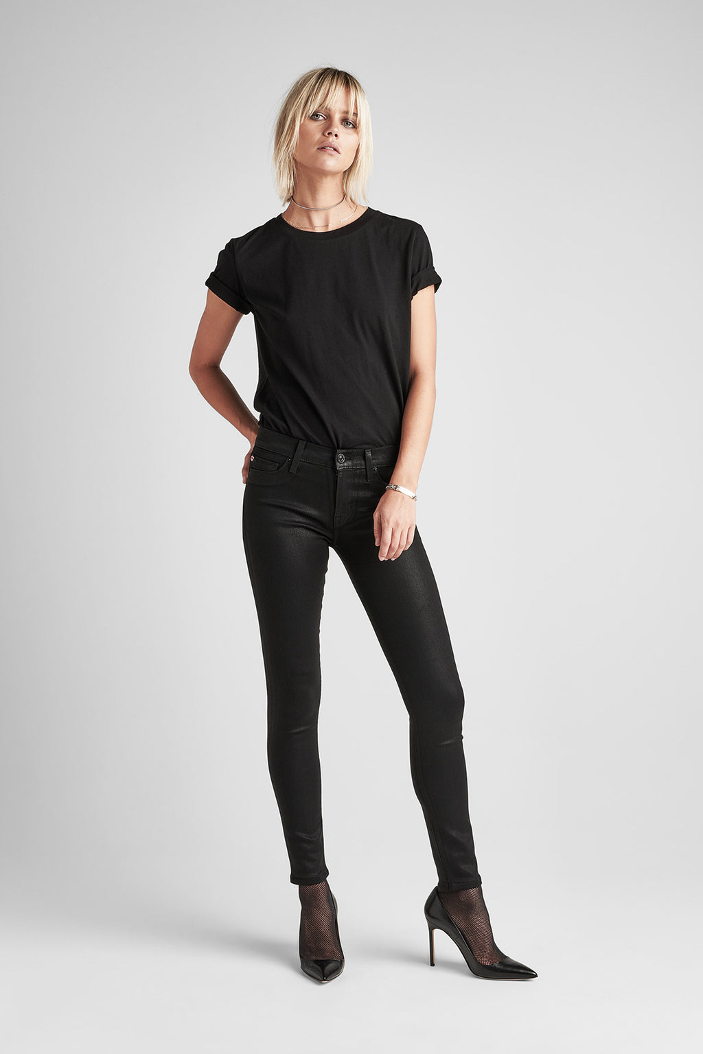 NICO MIDRISE SUPER SKINNY COATED DENIM ANKLE JEAN - NOIR COATED - Image 1