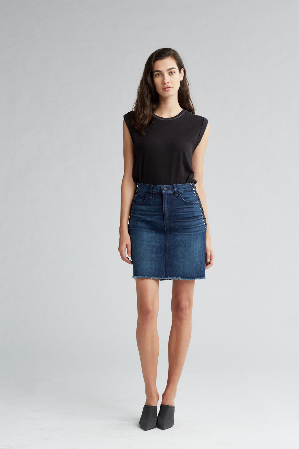 LULU DENIM PENCIL SKIRT - NIGHTFALL - Image 1
