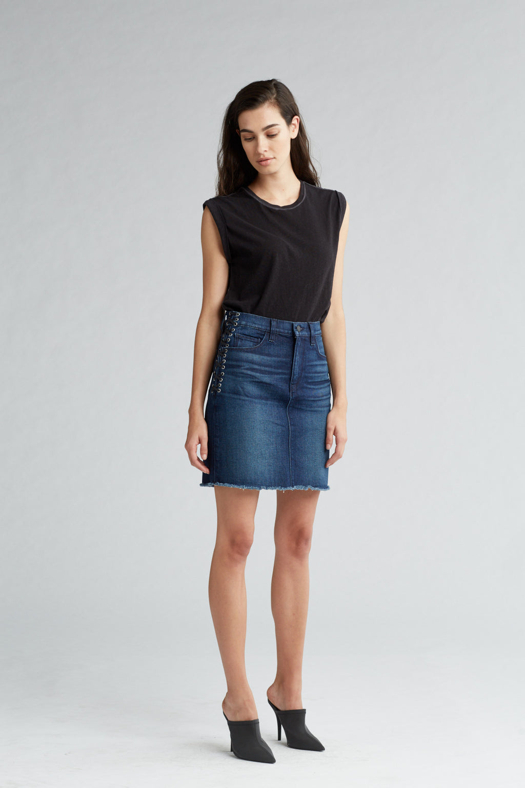 LULU DENIM PENCIL SKIRT - NIGHTFALL - Image 2