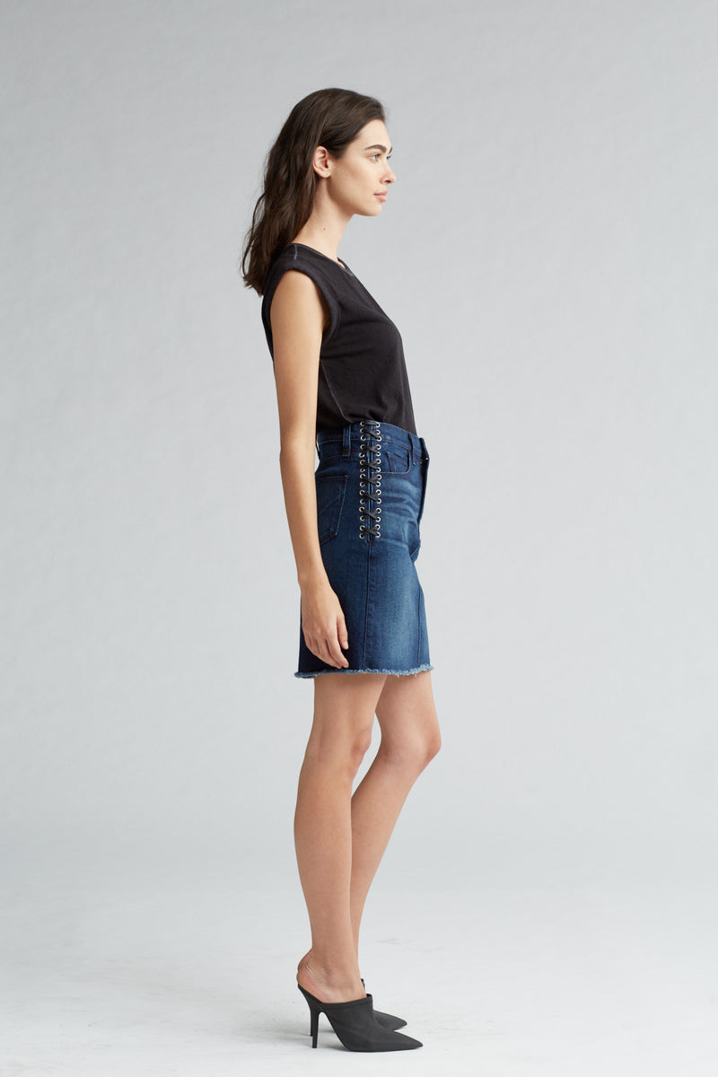 LULU DENIM PENCIL SKIRT - NIGHTFALL - Image 3
