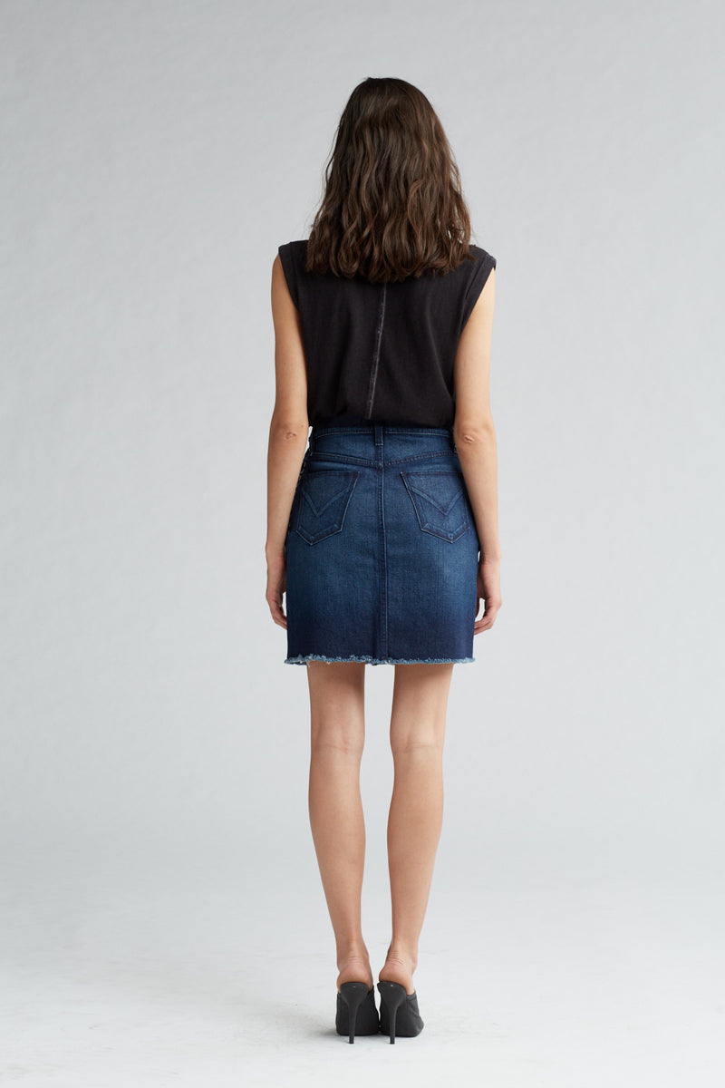 LULU DENIM PENCIL SKIRT - NIGHTFALL - Image 5