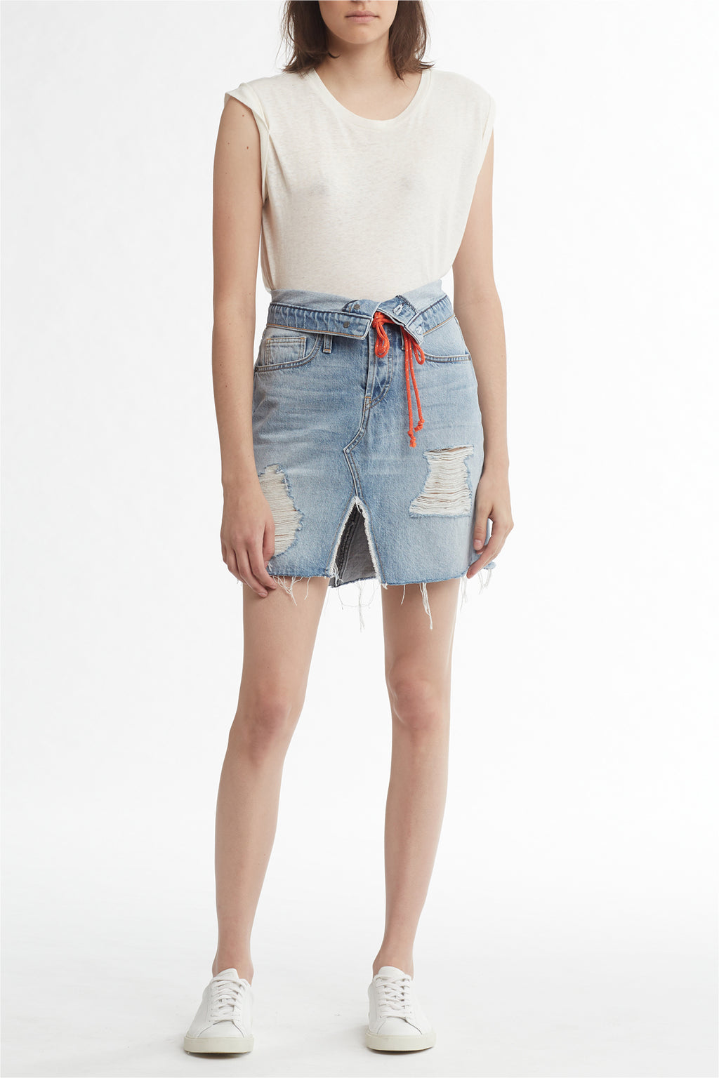 SLOANE KNEE-LENGTH DENIM SKIRT - OVERTHROW - Image 1