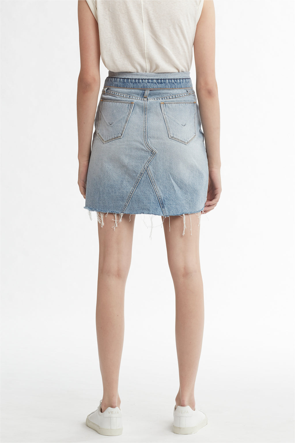 SLOANE KNEE-LENGTH DENIM SKIRT - OVERTHROW - Image 4