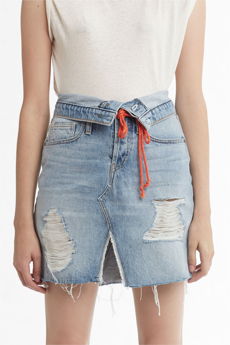 SLOANE KNEE-LENGTH DENIM SKIRT - OVERTHROW - Image 5