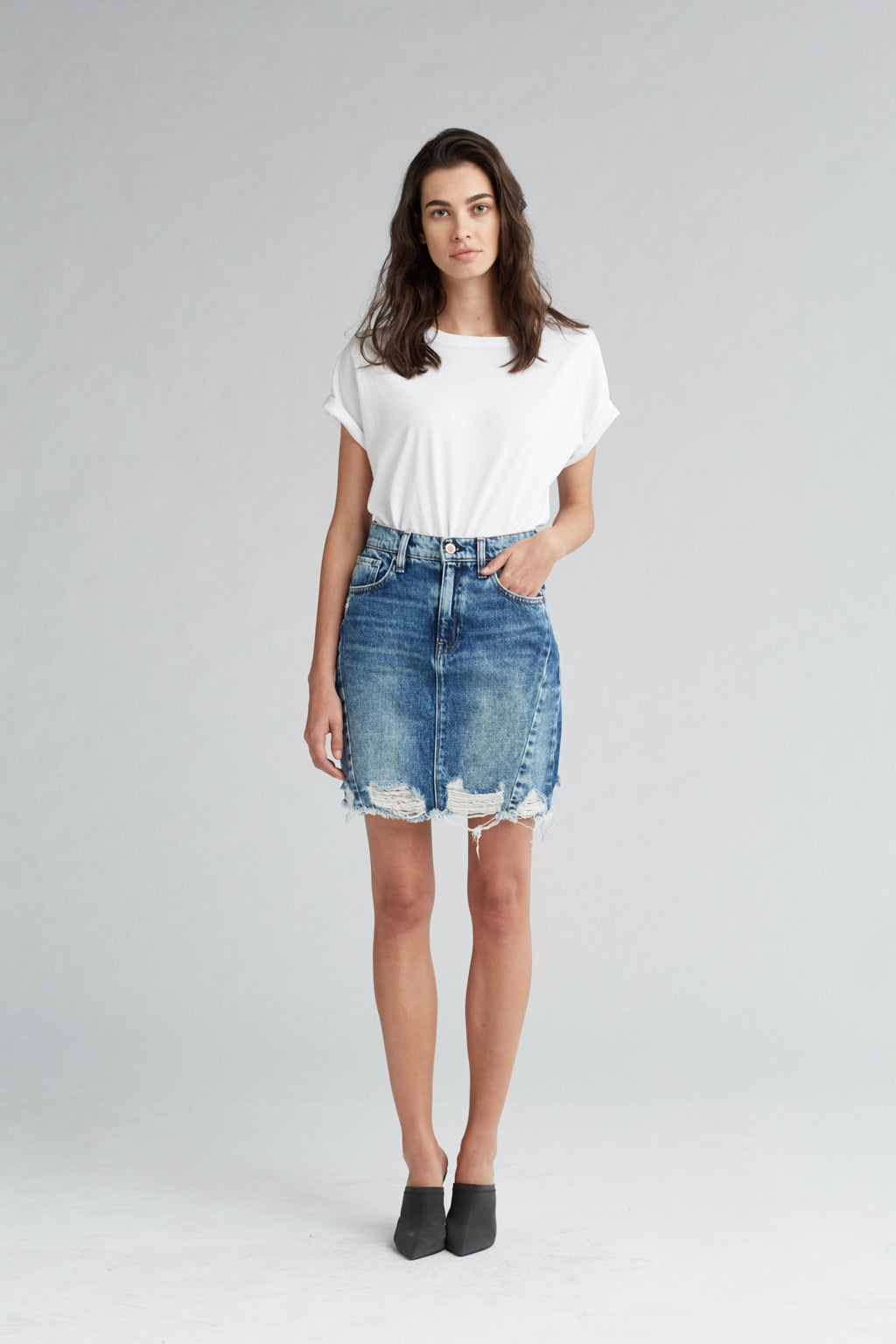 LULU DENIM PENCIL SKIRT - OVERSHADOW - Image 1