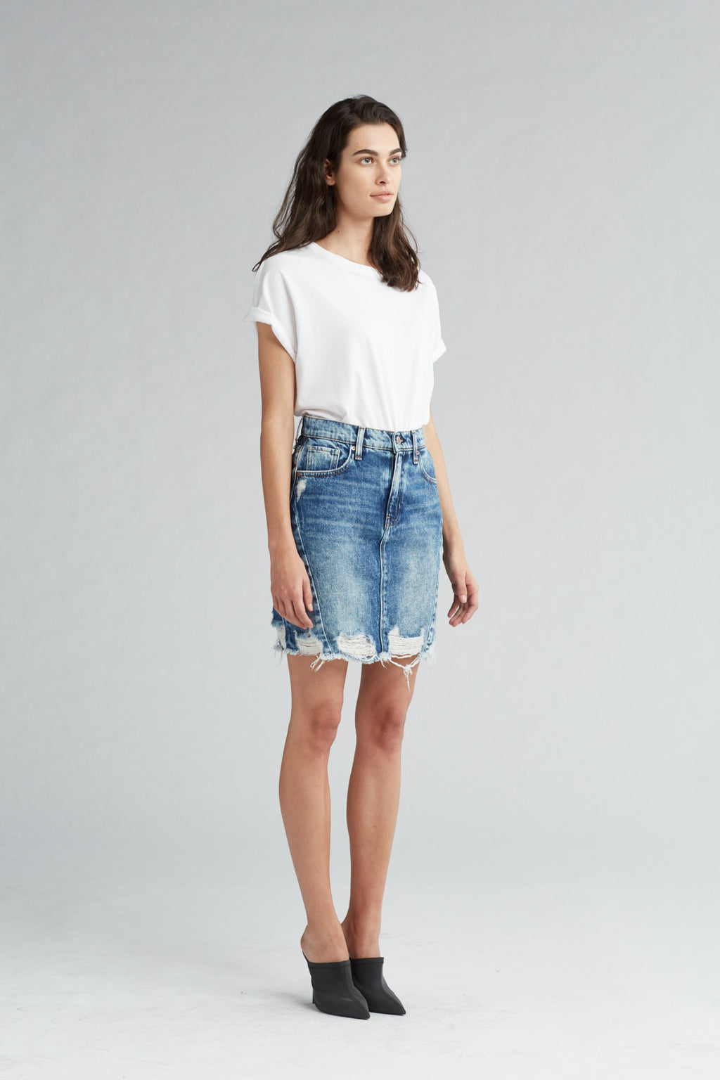LULU DENIM PENCIL SKIRT - OVERSHADOW - Image 2