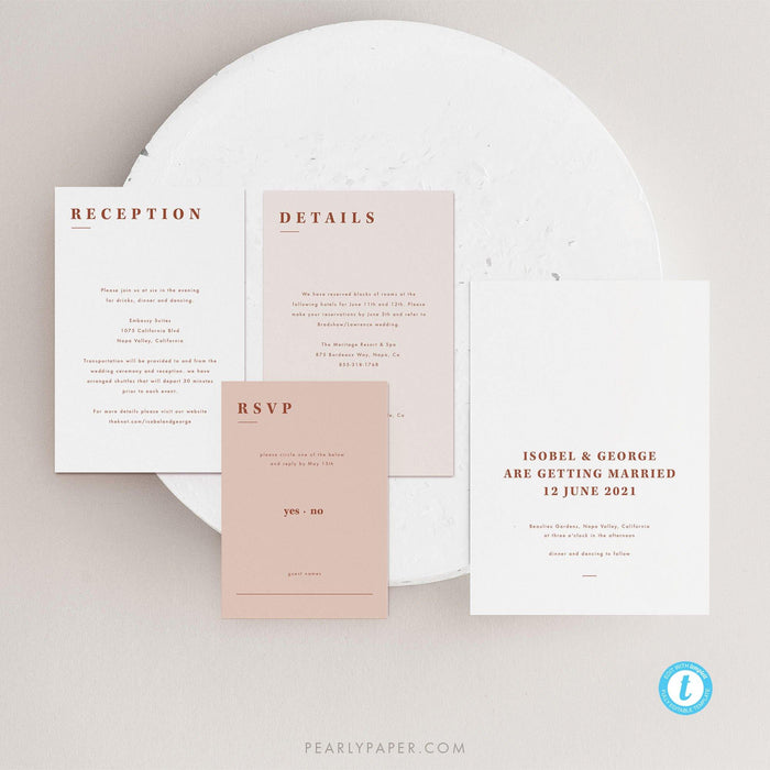 Desert Terracotta Wedding Invitation Set - Pearly Paper