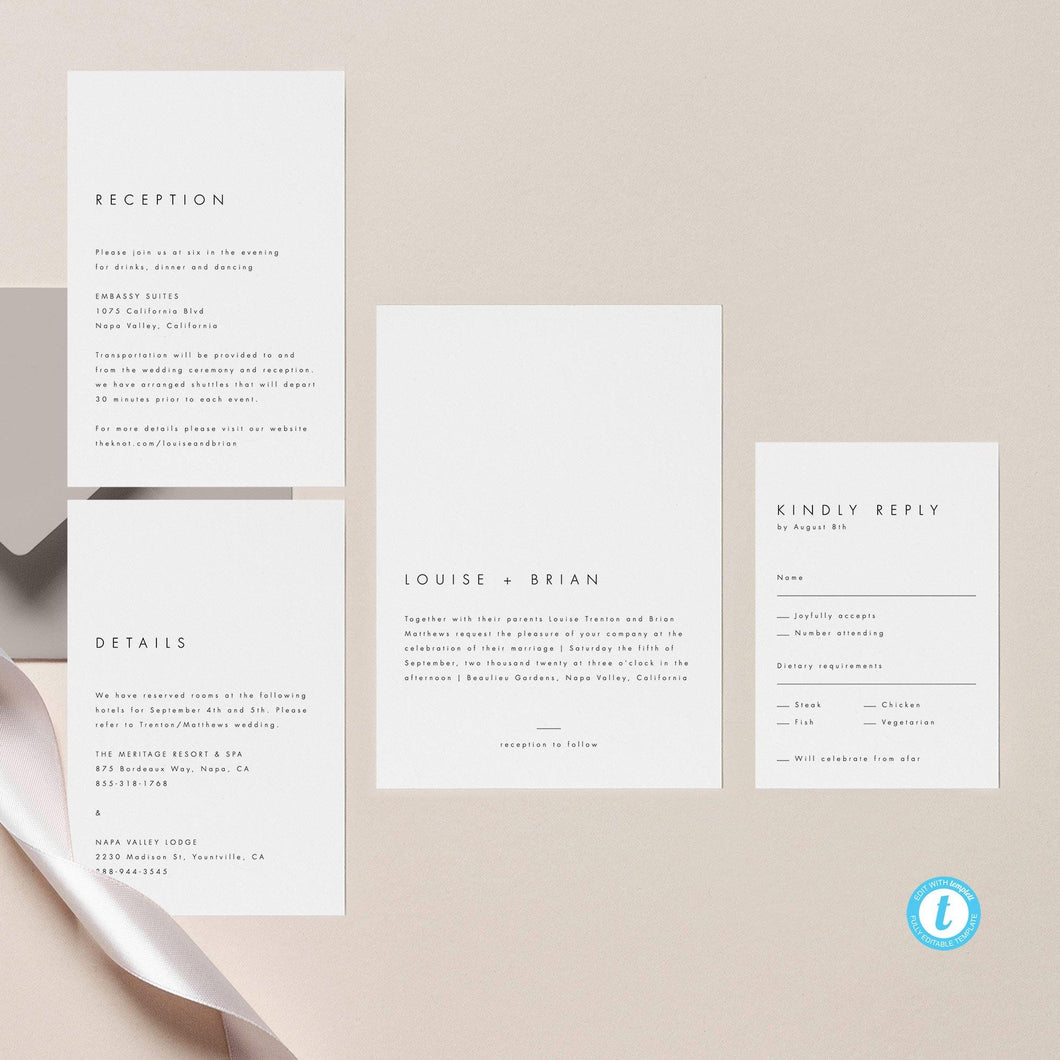 Minimalist Wedding Invitation Set - Pearly Paper