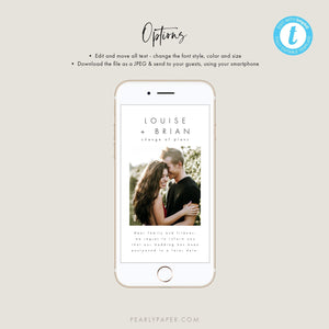 Minimalist Digital Postponed Wedding Photo Template - Pearly Paper