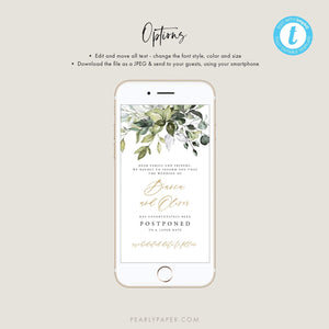 Greenery Digital Postponed Wedding Template - Pearly Paper