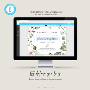Floral Postponed Wedding Template - Pearly Paper