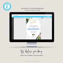 Load image into Gallery viewer, Tropical Digital Postponed Wedding Template - Pearly Paper