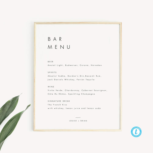 Minimalist Bar Menu Sign - Pearly Paper